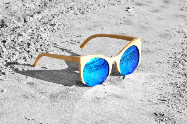 Bamboo Sunglasses Space Kats Natural Ice Blue